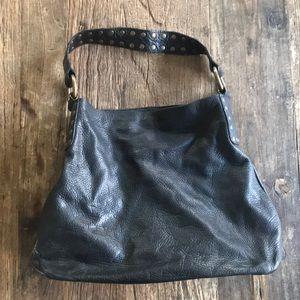 Mauricio Taiuti Black Pebbled Leather Shoulder Bag